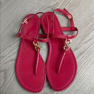 Cole Haan red and silver thong sandals